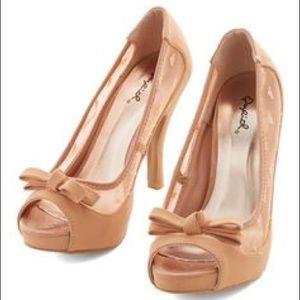 ModCloth Qupid Blush Nude Bow Platform Heels 8 1/2